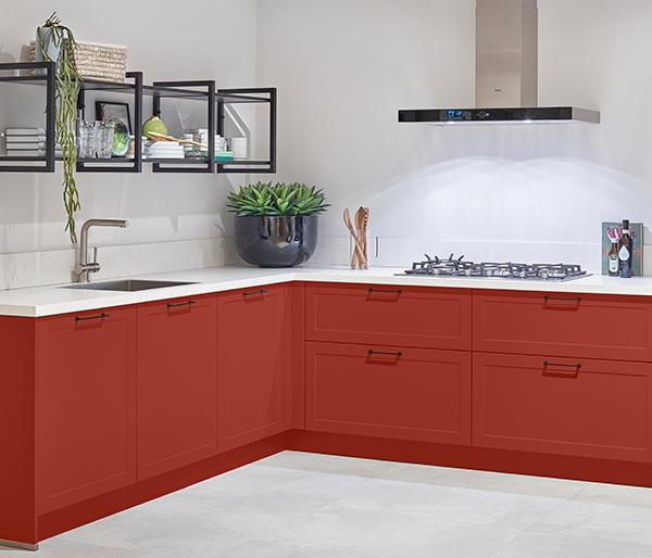 Keukens in de rode kleur