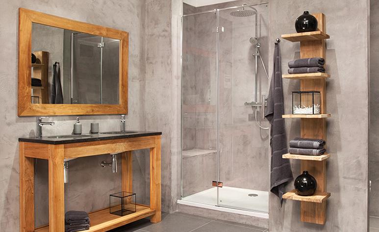 Houten materialen in de badkamer