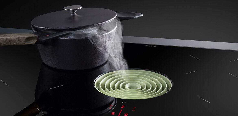 Verlichting in de keuken bij een downdraft afzuiging