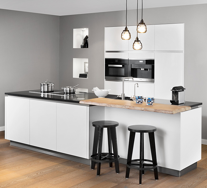Keuken met inbouw koffiemachine